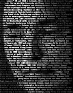 Ralph Ueltzhoeffer's Text Portrait of Jenny Holzer