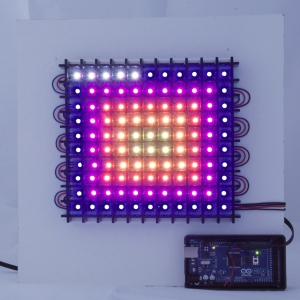 LED concentric rectangles pattern showing through a black acrylic grid