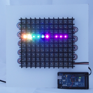 LEDs showing through a black acrylic grid