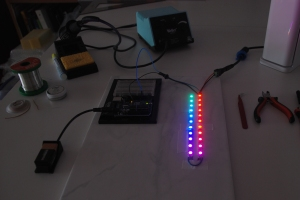 rainbow display of LEDs