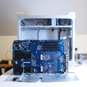 Mac G5 computer logic board that has been removed from the case