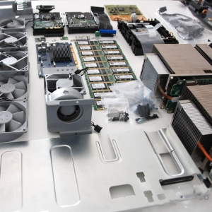 computer parts on a table