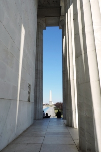 View of Washington Monument from the Lincoln Memorial columns
