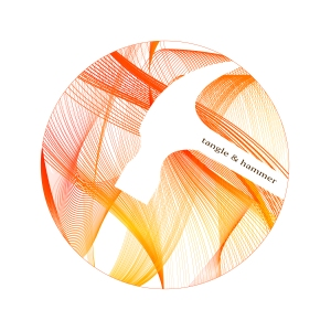 Overlapping orange and gold lines swirl through a circular gallery card, creating negative space that is in the shape of a hammer.  The  brown show title, Tangle & Hammer, is angled in the hammer handle.