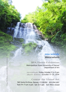 Announcement card that has a photo of Amicalola Falls.