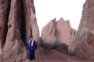 Garden of the Gods rock formation as a background for my cap and gown portrait